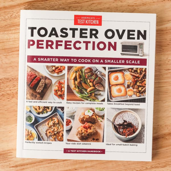 Toaster Oven Perfection book cover featuring a variety of dinners and desserts.