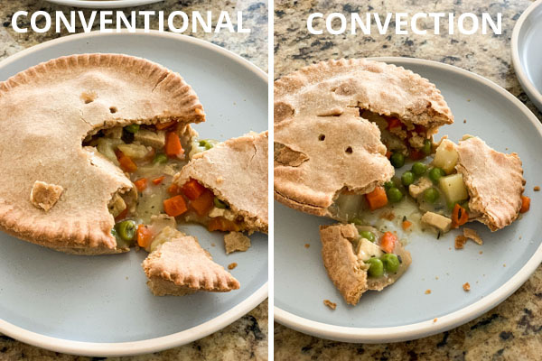 "Two blue plates with individual pot pies with the text ""conventional"" and ""convection"""