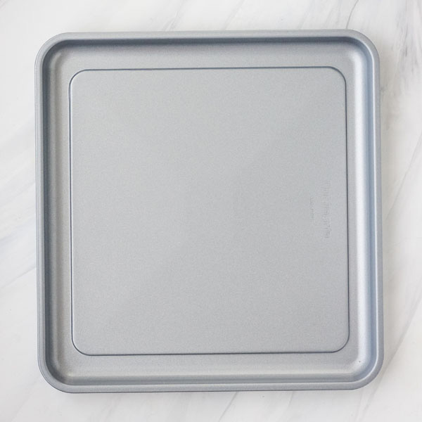Toaster oven sheet pan on a white background.