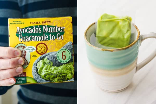 Package of single-serve guacamole and guacamole packet in a cup of water.