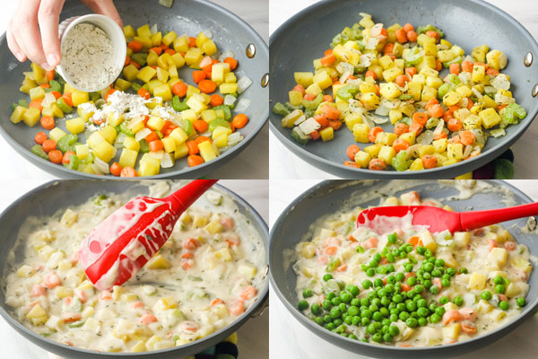 Chopped vegetables in a skillet coated with flour and in a sauce with frozen peas.