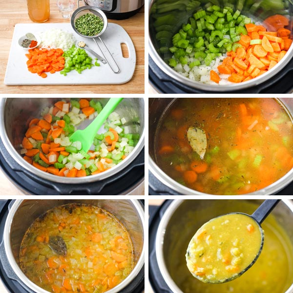 Ingredients on cutting board and soup cooking in Instant Pot.