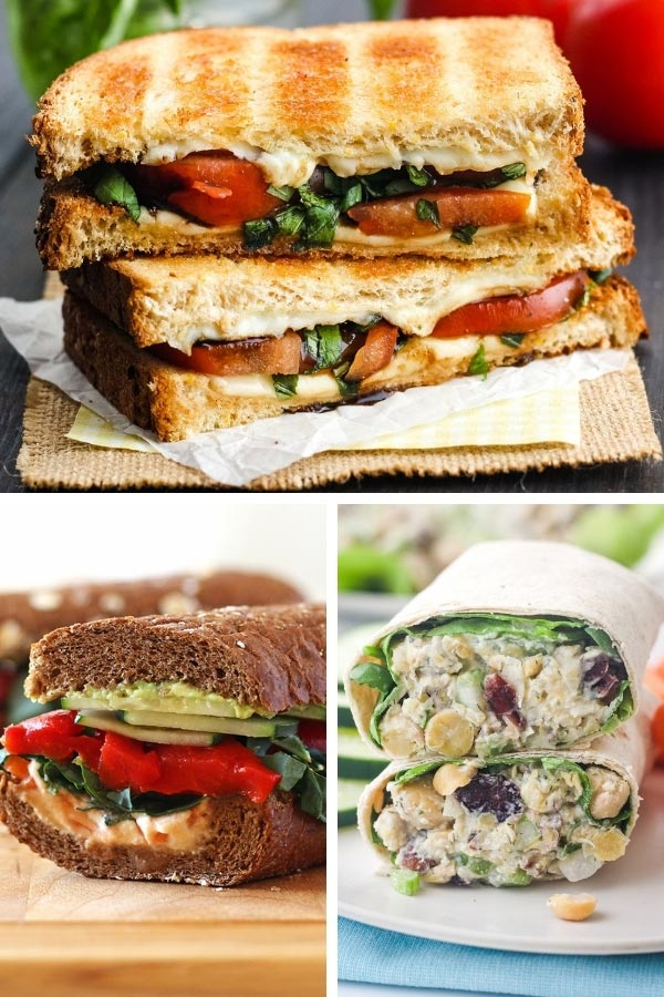 Grilled cheese, half a veggies and hummus sandwich, and chickpea wraps.