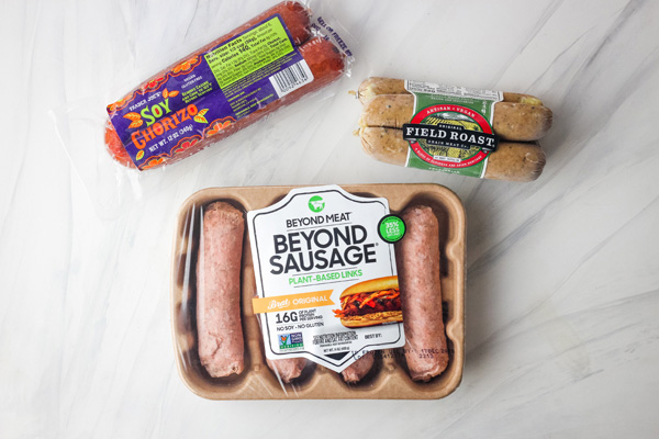 Packages of Beyond Meat Sausage, Soy Chorizo, and Field Roast Sausage.