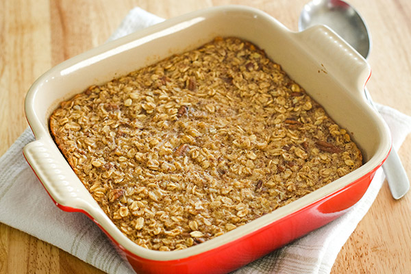 Baked Oatmeal in a large red baking dish.