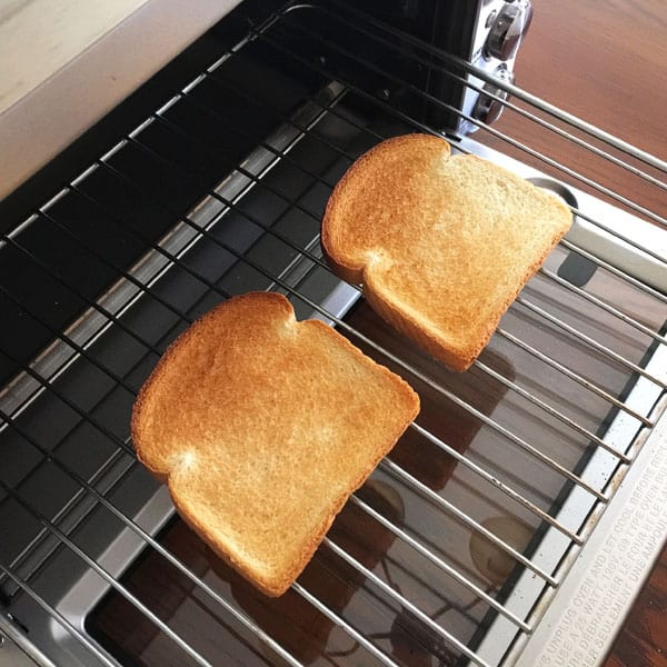 Two slices of toast in a breville smart oven pro.