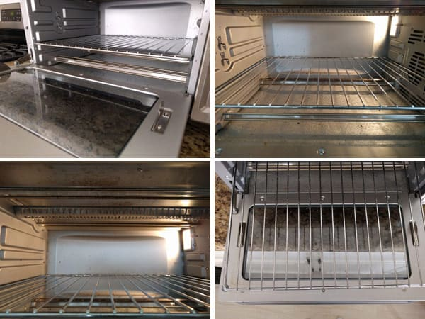 Grid of photos of toaster oven interior and glass door.
