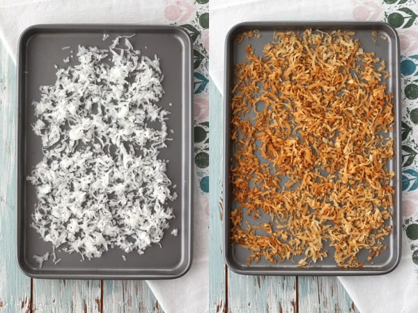 Sweetened shredded coconut raw and toasted.