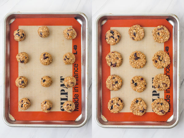 Cookie dough on a quarter baking sheet.