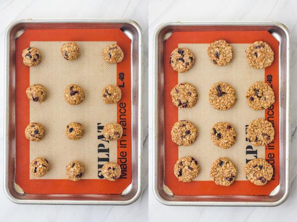 Cookie dough on a quarter baking sheet.