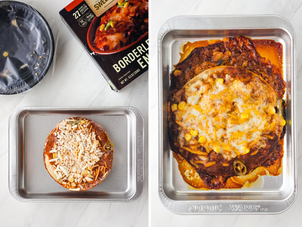 First photo: Frozen meal in a metal baking pan. Second photo: Cooked enchilada bowl in a toaster oven baking dish.
