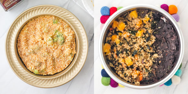 First Photo: Frozen macaroni and cheese in a mini pie pan. Second Photo: Cooked meal in a 6-inch round cake pan.