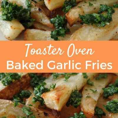 A lightened up recipe for toaster oven garlic fries covered in sweet roasted garlic, olive oil and parsley. Just like the ballpark but better for you! Potato Recipes | Baked Fries | Toaster Oven Recipes