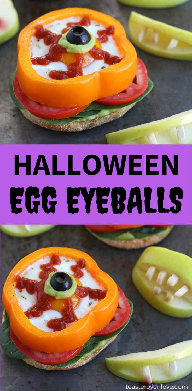 Eggs baked in bell pepper rings decorated like eyeballs on a baking sheet.