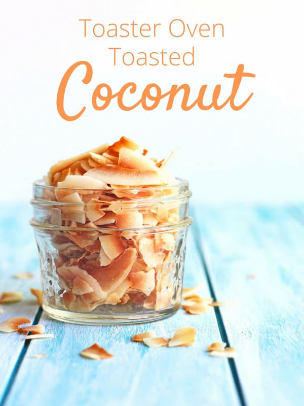 Toasted coconut flakes in a small mason jar.