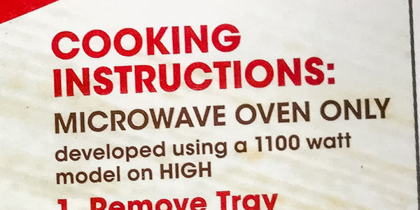 "A box with the words ""Microwave oven only"" cooking instructions."
