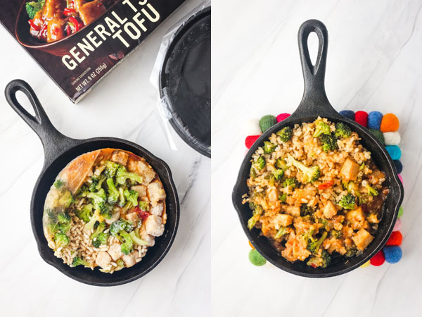 First Photo: Frozen meal in a small cast iron skillet. Second Photo: Cooked meal.