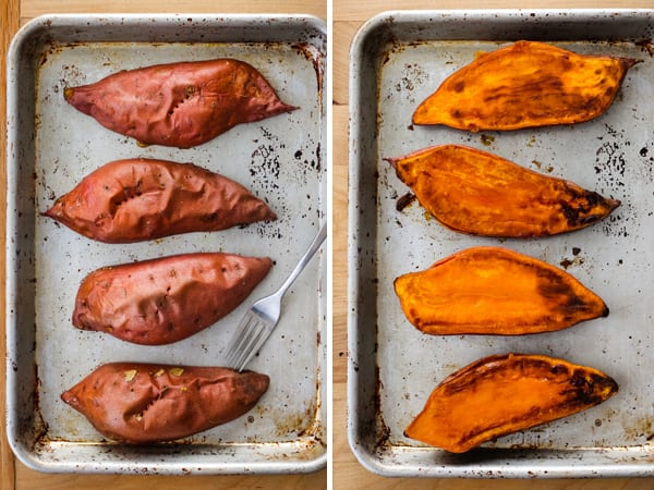 Quick baked sweet potato halves on a baking sheet.