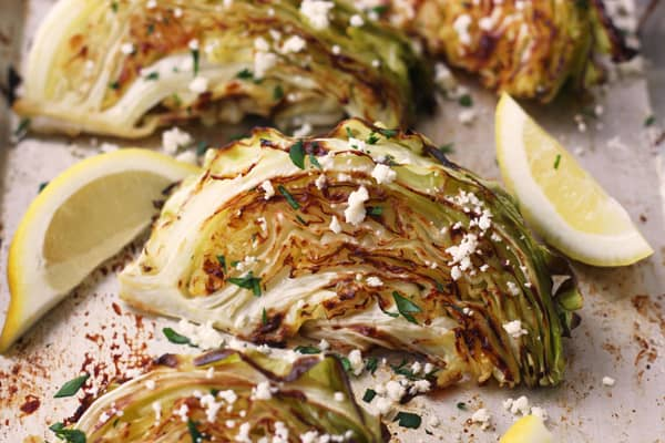 Roasted cabbage with feta and lemon.