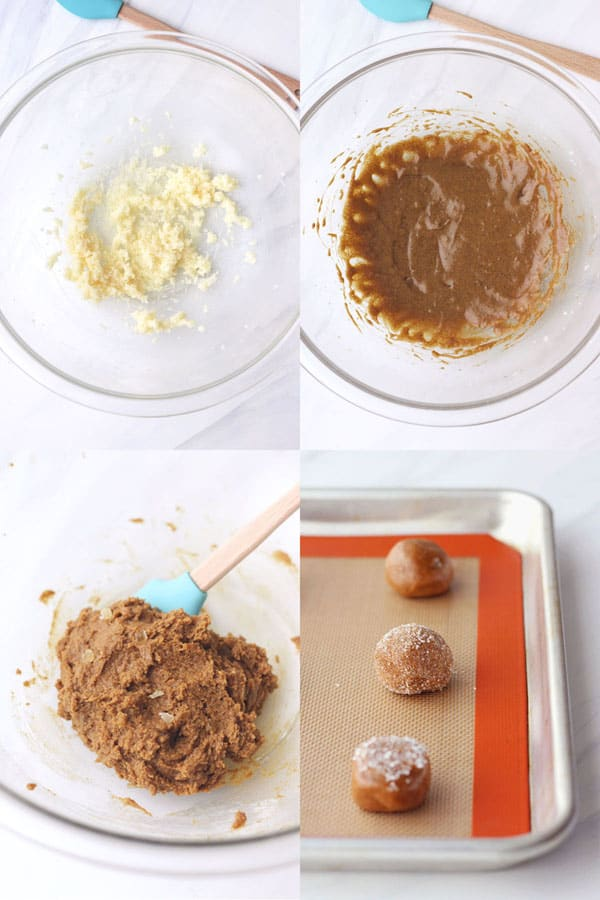 Four photos showing the dough being made and rolled on a baking sheet.