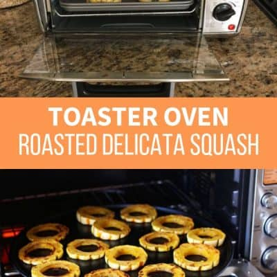 2 photos of delicata squash being cooked in toaster ovens
