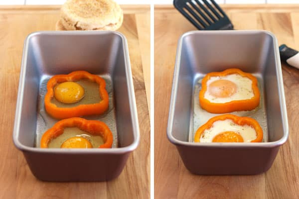Use a loaf pan to bake eggs in bell pepper slices.