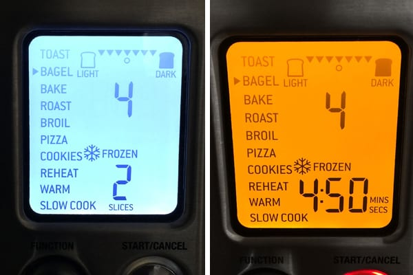 Frozen bagel settings on the Breville Smart Oven Pro.