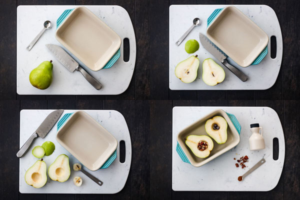 Four photos of the steps to prepare baked pears.