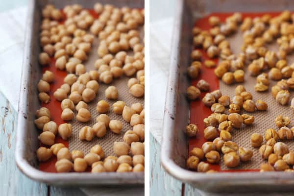 Photo of canned chickpeas on a baking sheet and photo of chickpeas after dry roasting.