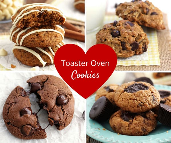 Four photos of cookies baked in a toaster oven.