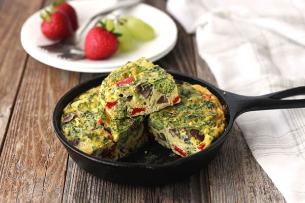 Baked toaster oven frittata in a mini cast iron skillet