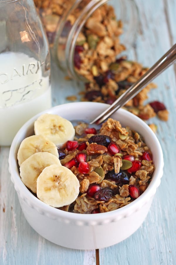 toaster oven granola in a bowl with fruit