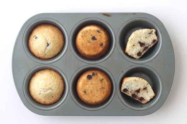 Muffins baked in a Chicago Metallic Toaster Oven Muffin Pan