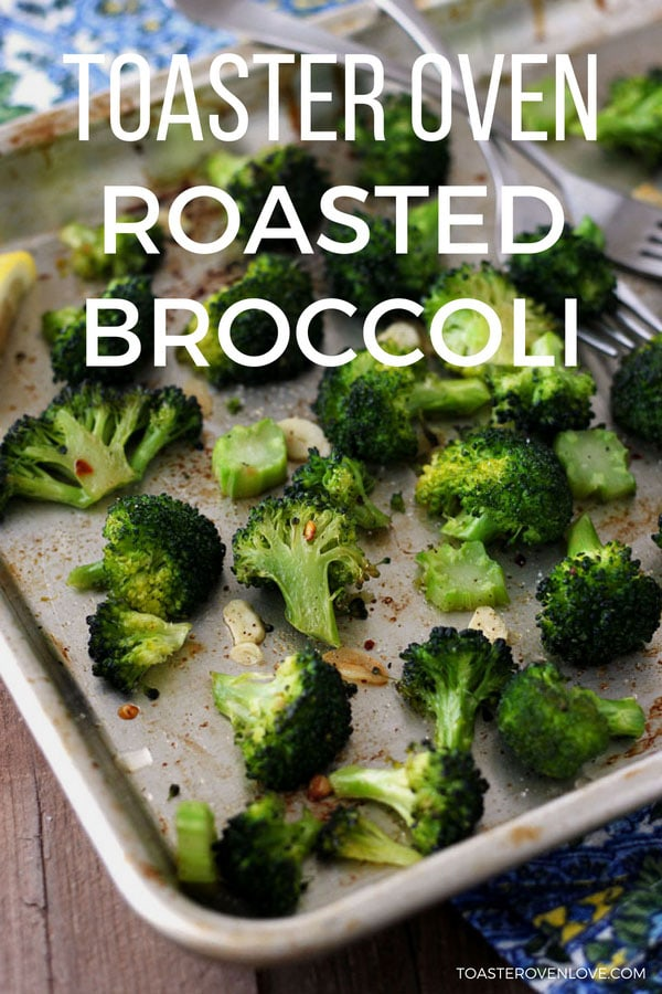 Toaster oven roasted broccoli on a baking sheet