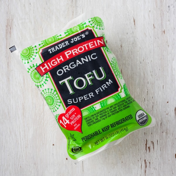 A package of super firm tofu from Trader Joe's.